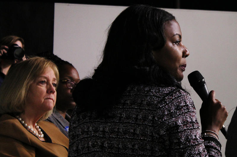St. Louis Treasurer Tishaura Jones responds to questions from the audience while alderman Lyda Krewson looks on.