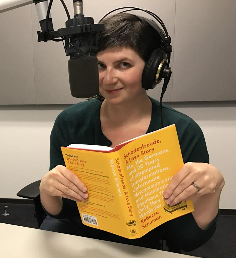 "Author Rebecca Shuman reads from her book 'Schadenfreude, A Love Story"" in St. Louis Public Radio studios."