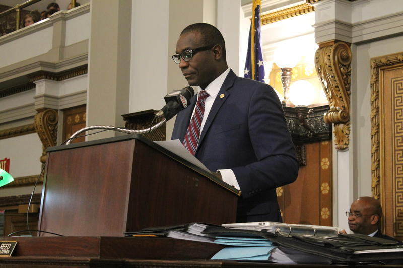 St. Louis Board of Aldermen President Lewis Reed presides over Friday's session of the Board of Aldermen.
