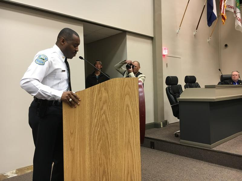 Ferguson Police Chief Delrish Moss speaks at a March 14, 2017, City Council meeting.