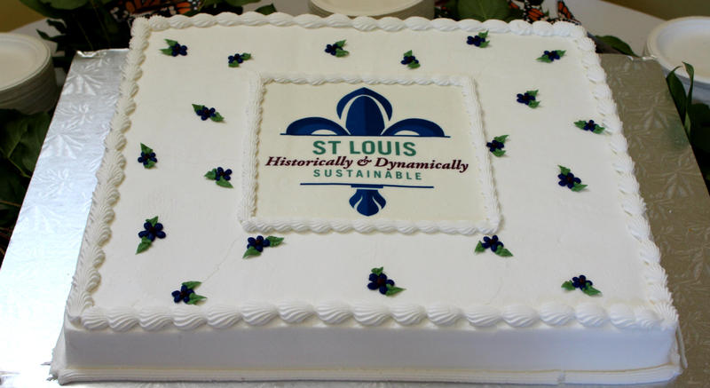 St. Louis Historically and Dynamically Sustainable. Cake made for progress report at the Botanical Garden in the Sputnik Pavillon on Wednesday, March 15, 2017