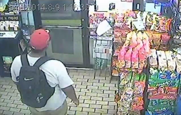 Michael Brown is seen in Ferguson Market security footage at 1:16 a.m. on August 9, 2014.
