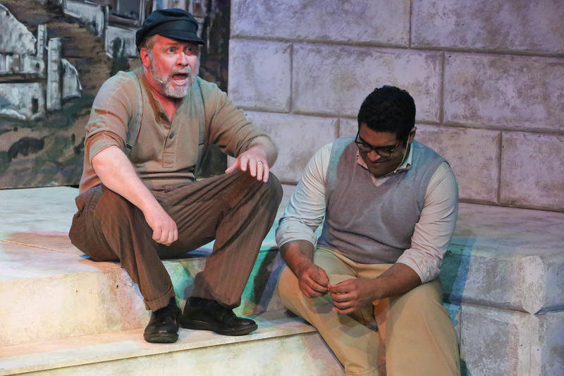 "Kent Coffel as Zorba and Dominic Dowdy-Windsor as Nikos in New Line Theatre's production of ""Zorba"""