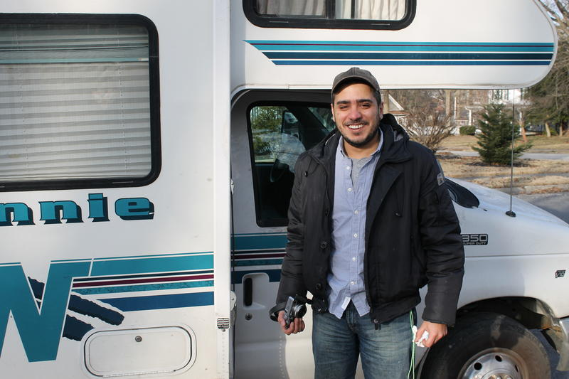 Lebanese photographer Fadi BouKaram is traveling across the U.S. visiting every town that shares the name of homeland. Here he is pictured in front of his 21-foot RV.