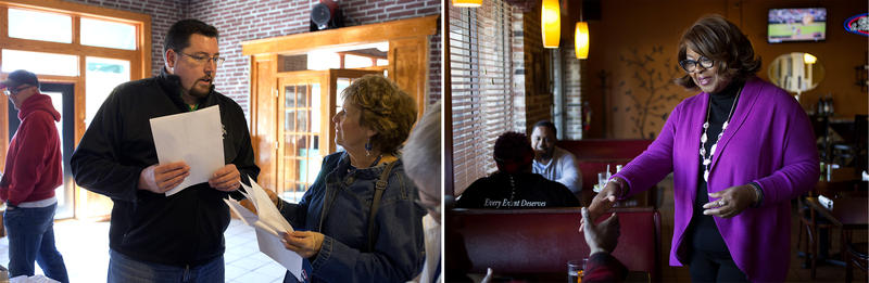 Ferguson Mayor James Knowles chats with a supporter ahead of canvassing; Councilwoman Ella Jones greets people at a restaurant. On Monday, March 27, Knowles and Jones will participate in a mayoral forum ahead of the April 4 election.