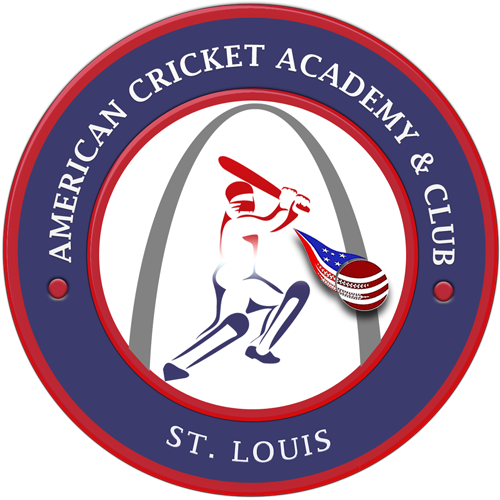 Red and blue, circular logo of the American Cricket Academy & Club.