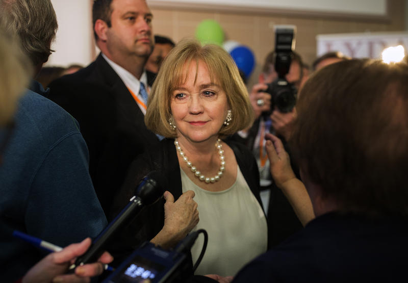 Lyda Krewson speaks with reporters after winning the Democratic mayoral primary on March 7, 2017.
