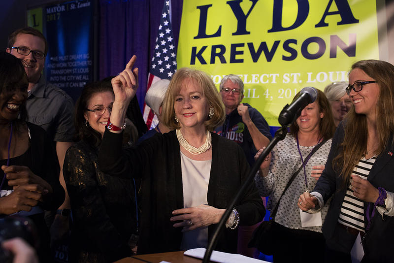 Lyda Krewson dances with relatives, supporters and campaign staff after delivering her acceptance speech.