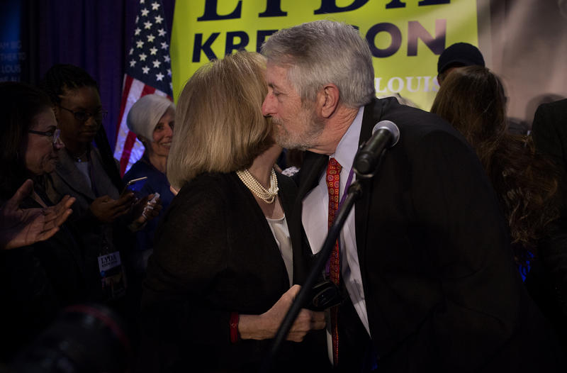 Lyda Krewson hugs her husband, Mike Owens, after delivering her acceptance speech. (April 4, 2017)