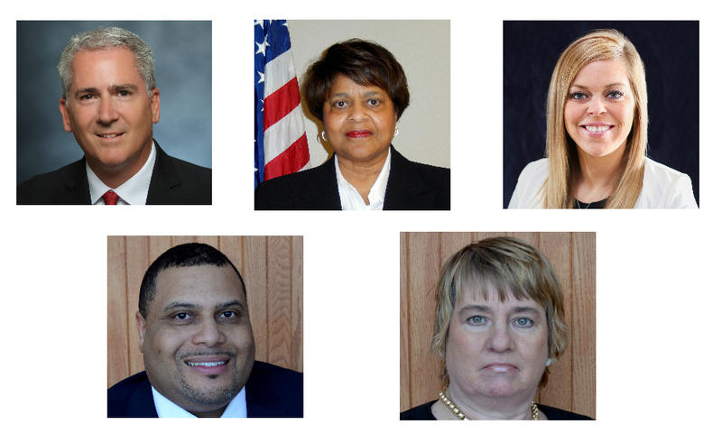 Clockwise from left: Incumbents Rob Chabot and Donna Thurman, along with first-time candidates Jessica Ponder, Donna Dameron and Roger Hines, are running for the Ferguson-Florissant school board on April 4, 2017.