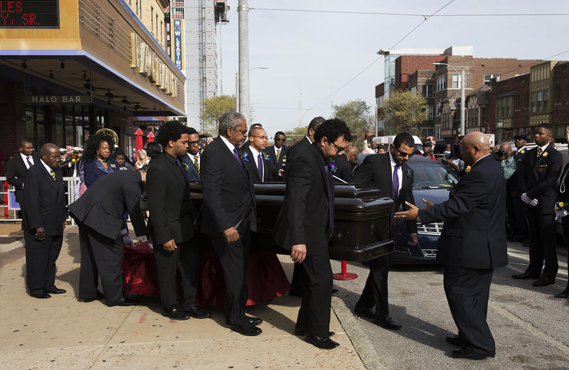 Pallbearers guide the casket of Chuck Berry out of The Pageant following a viewing and celebration of life event for the rock 'n' roll legend and St. Louis native. (April 9, 2017)