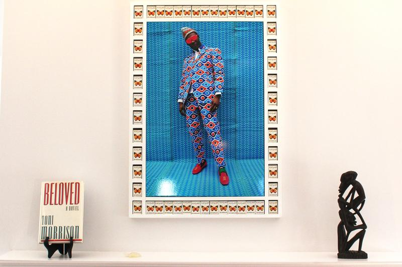 This piece in Davis' home, seen in this April 12 photo, is by HassanHajjaj. It's called