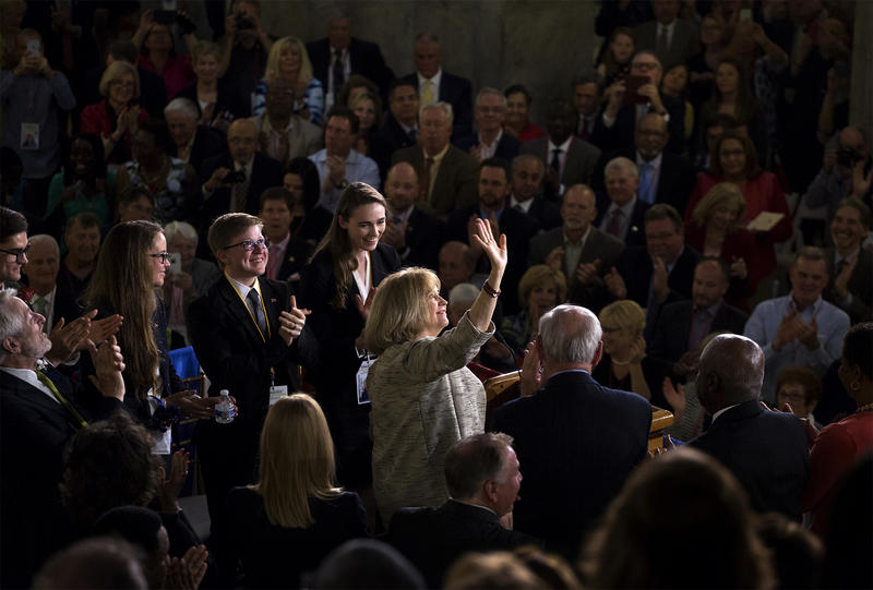 Lyda Krewson waves after taking the oath of office to become the 46th mayor of St. Louis on April 18, 2017)