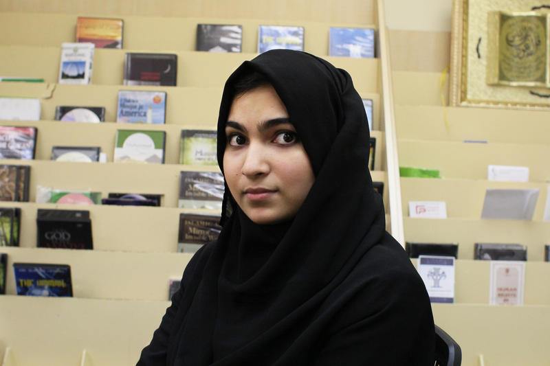 Organizer Yusra Ali sits in the CAIR Missouri office in Clayton