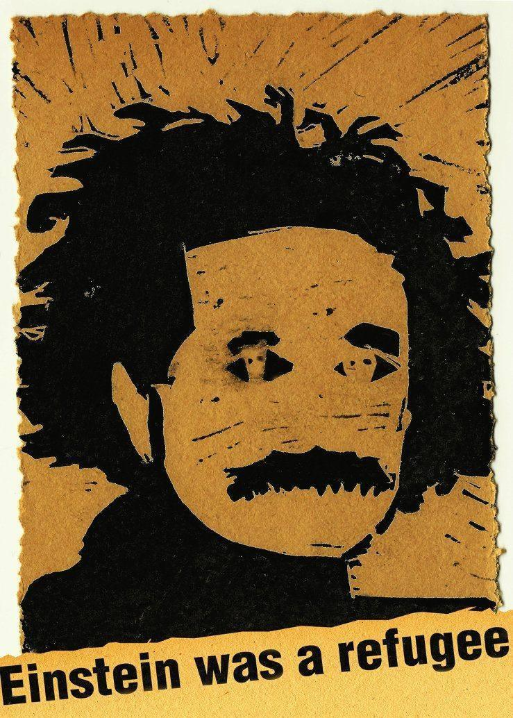 A print by Mitchell Eismont, cut from linoleum depicts noted physicist Albert Einstein above the words