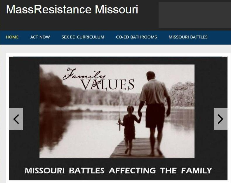 A screenshot of MassResistance Missouri's homepage. The Southern Poverty Law Center lists the organization as an anti-LGBT hate group.