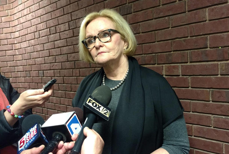 U.S. Sen. Claire McCaskill answers questions after the Democrat held a town hall event Wednesday in Jefferson County.