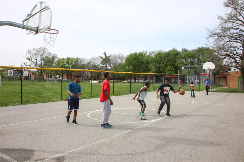 Basketball players take advantage of the Fox Park courts in April 2017.