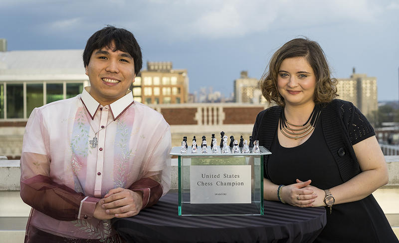 2017 U.S. Chess Championship winner Wesley So and 2017 U.S. women's champion, Sabina Foisor.