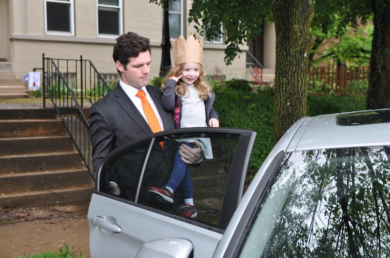 David Mueller, 31, picks up his three-year-old daughter Marjorie from daycare on May 4, 2017. She has a rare form of cystic fibrosis, and Mueller worries the Republican health plan will affect the family's ability to pay for her care.
