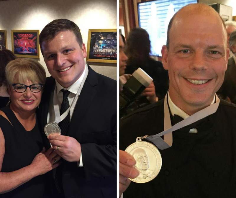 Alex Donley and Kevin Nashan show off their newly-earned James Beard Foundation Awards.