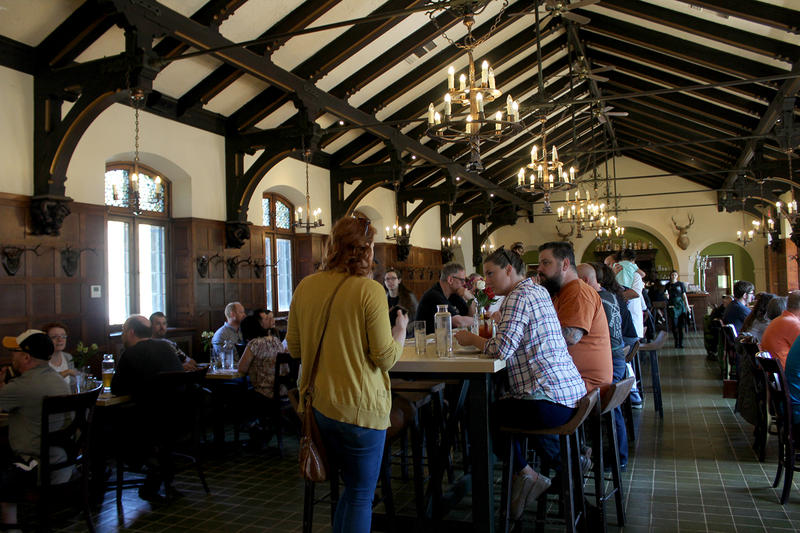 A crowd enjoys Sunday brunch on Das Bevo's opening day, May 7, 2017.