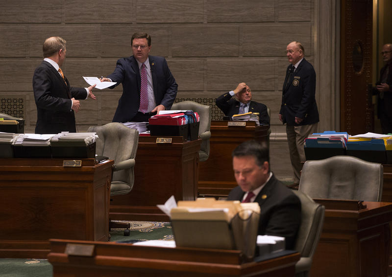 Members of the Missouri Senate work through the final day of the General Assembly's legislative session in 2017.