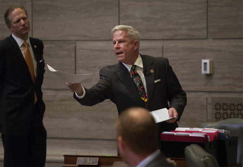 State Senator Rob Schaaf addresses Lt. Gov. Mike Parson on the last day day of the General Assembly's legislative session.