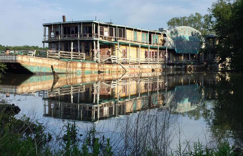 The Goldenrod Showboat took on about 7 feet of water when the Illinois River flooded near Kampsville, Illinois, in early May 2017.