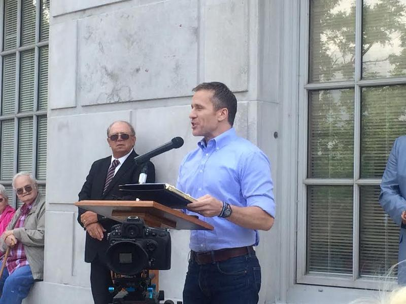 Gov. Eric Greitens speaks in front of the Capitol during a rally in support of the Noranda bill on Tuesday, May 23, 2017.