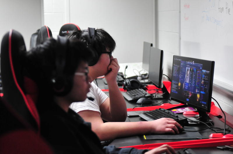 Maryville University's esports team playing in April.