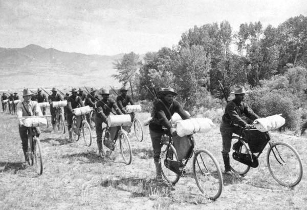 On June 14, 1897, Lt. James Moss, U.S. Army, led his bicycle corps of the 25th Infantry, from Fort Missoula, Montana, up a wagon trail and Indian path, to St. Louis, arriving  on July 16, 1897.