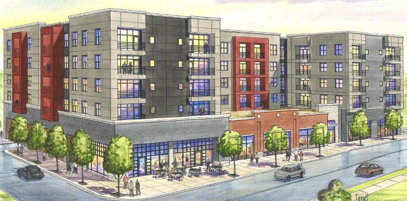 Rendering of the proposed apartment building at Clayton Avenue and Graham Street.