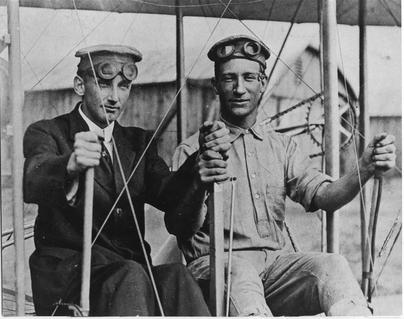 Cpl. Frank Scott (left) and Pfc. James O'Brien (right) on Sept. 28, 1912. Scott Field was named for Scott, the first enlisted service member killed in an aviation crash.