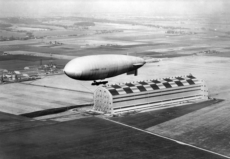 The Motorized Observation Dirigible TC-6 over Scott Field.