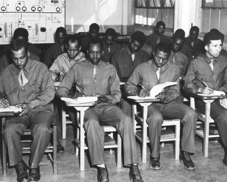 In January 1943, 330 black servicemen who were assigned to the 46th Aviation Squadron entered the Radio School. In May 1943, they graduated, ready to help Tuskegee Airmen fly.