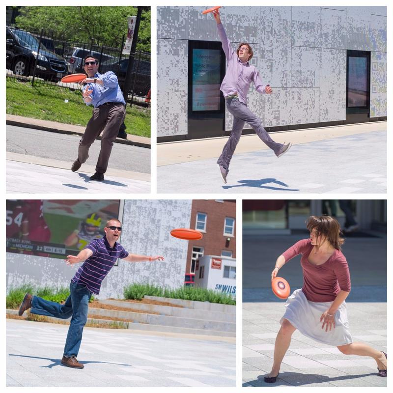 What better way to relax a bit than some frisbee in the Public Media Commons? Ryan Delaney, Aaron Doerr, Alex Heuer, and Durrie Bouscaren make the most of their lunch hour on a beautiful day.