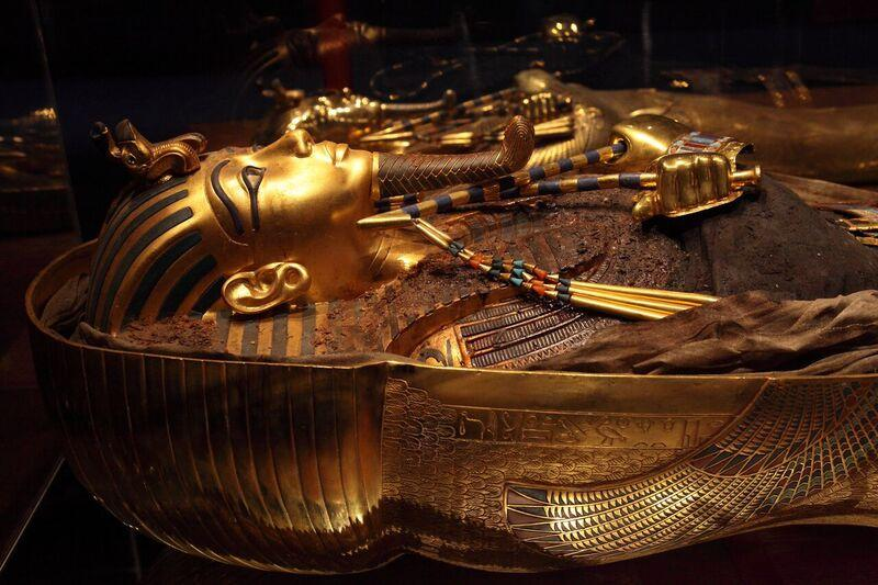 This gold mummy case is one of the replica artificats on display at a new exhibit at the St. Louis Science Center.