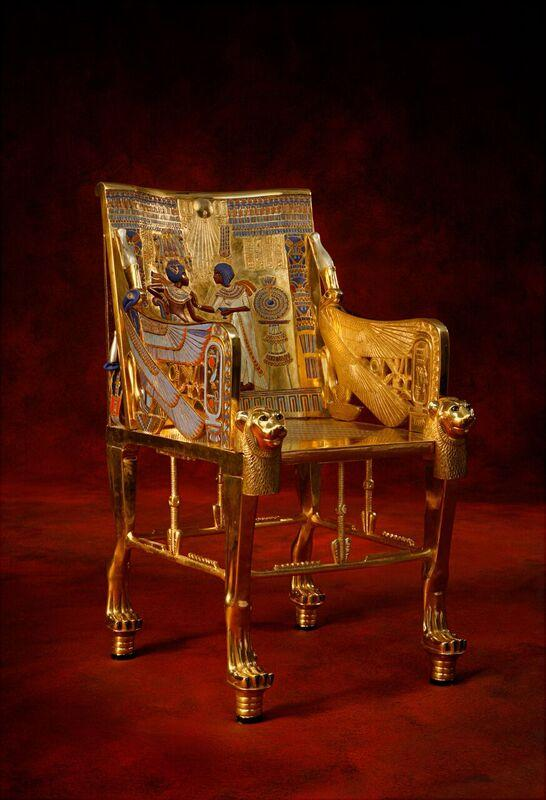 This replica of King Tut's throne is rather small, as he was only 9 years old when he assumed the throne.