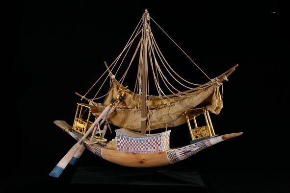 This model ship is a replica of what existed during the time of King Tut.