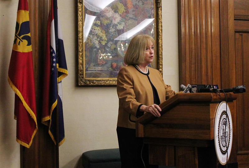 Mayor Lyda Krewson addresses reporters on Fri., June 2, 2017, after a violent week in St. Louis left seven dead and 13 injured by gunfire.