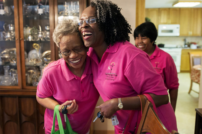 Ella Jones, left, and Diane Stevenson hug goodbye after a meeting. Their group, which is run by The Breakfast Club, offers support and friendship to women diagnosed with breast cancer. (June 13, 2017)