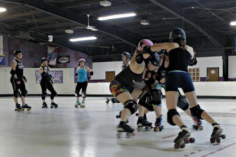 Players on the Arch Rival All Stars roller derby team run drills during practice on Monday, June 12, 2017, ahead of the Sibling Rivalry invitational.