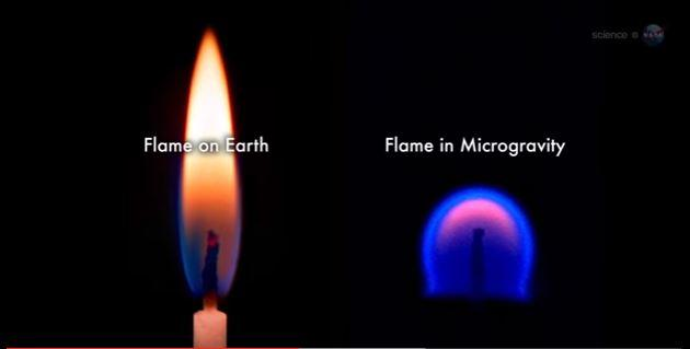 A comparison of what flames look like on Earth versus in zero gravity.