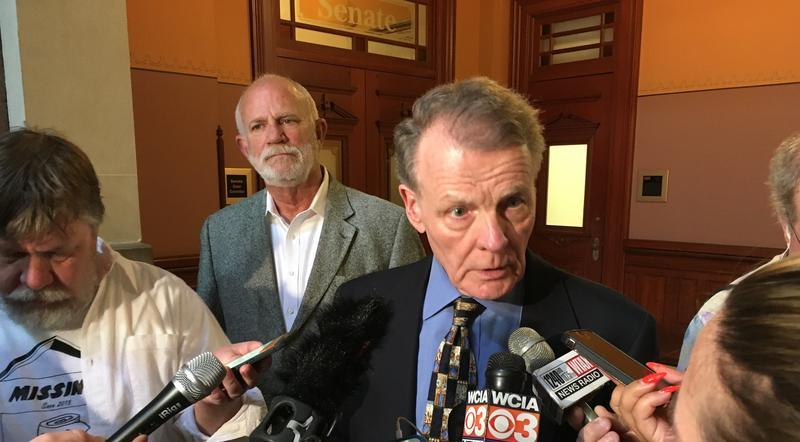 House Speaker Michael Madigan speaks with reporters on Sunday, June 25, 2017, after the first meeting of Illinois' four legislative leaders in six months.