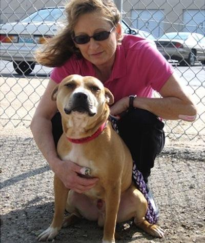 King huddles with Pam Whitcraft of the Human Society in St. Louis. Until the trials are over concerning the dogfights King participated in, he can't be adopted.