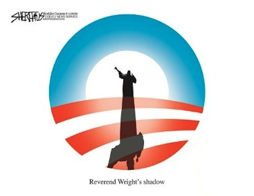 Editorial cartoon showing rev. wright's shadow over the obama logo