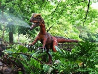 A dilophosaurus model