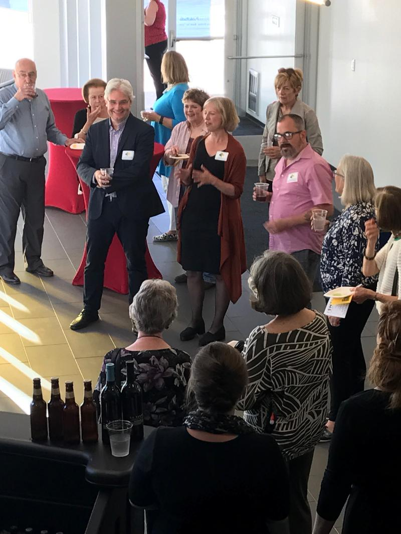 St. Louis Public Radio members joined Anne Strainchamps, Charles Monroe-Kane, and Steve Paulson for a VIP reception before the show