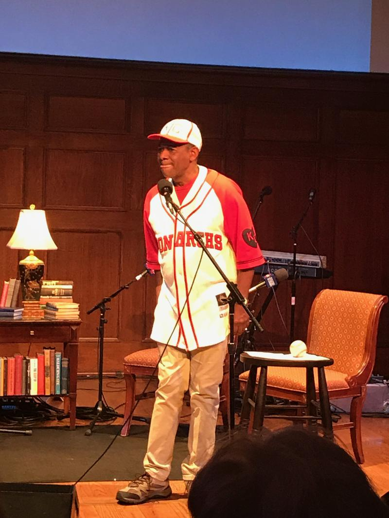 Storyteller Bobby Norfolk performs a piece from his latest one man show,  Shadowball: The Negro Baseball Leagues.